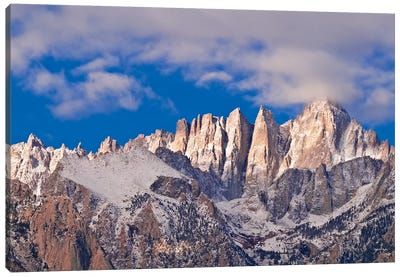 Dawn light on Mount Whitney from the Alabama Hills, Sequoia National Park, California, USA. Canvas Art Print