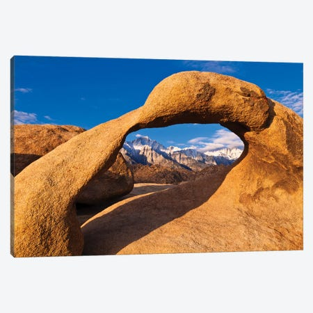 Dawn light on Mount Whitney through rock arch, Alabama Hills, Sequoia National Park, California Canvas Print #RBS68} by Russ Bishop Canvas Print