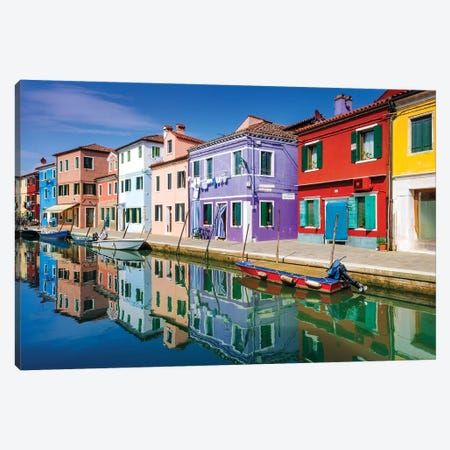Colorful houses and canal, Burano, Veneto, Italy Canvas Print #RBS6} by Russ Bishop Canvas Art