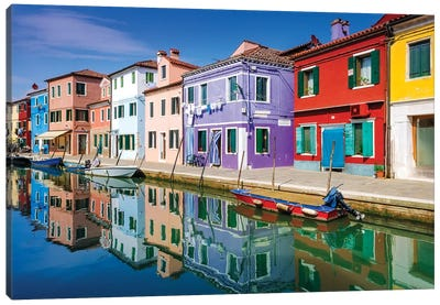 Colorful houses and canal, Burano, Veneto, Italy Canvas Art Print