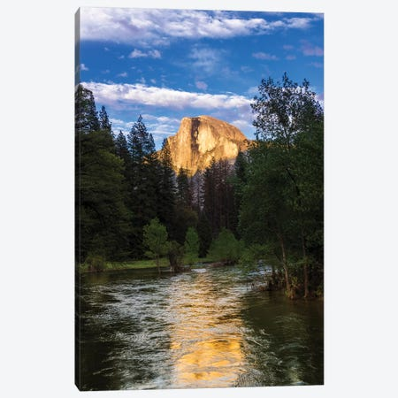 Evening light on Half Dome above the Merced River, Yosemite National Park, California, USA Canvas Print #RBS72} by Russ Bishop Canvas Wall Art