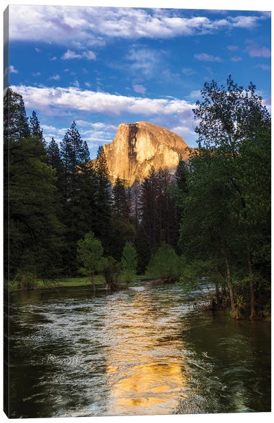 Evening light on Half Dome above the Merced River, Yosemite National Park, California, USA Canvas Art Print
