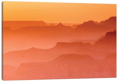 Evening light over the Grand Canyon, Grand Canyon National Park, Arizona, USA. Canvas Art Print