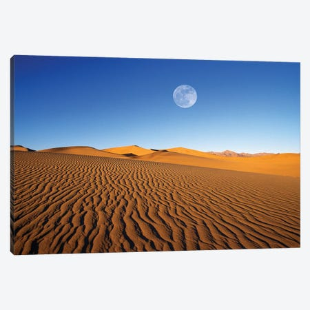 Full moon over evening light on dune patterns on the Mesquite Flat Sand Dunes, Death Valley NP, CA 3-Piece Canvas #RBS95} by Russ Bishop Art Print