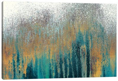 Teal Woods with Gold Canvas Art Print