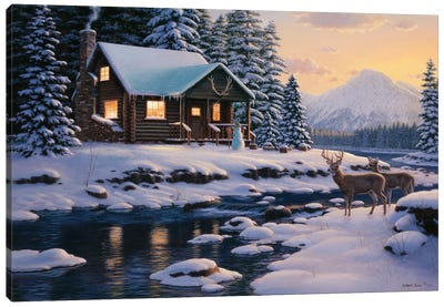 White Tail Twilight Canvas Art Print