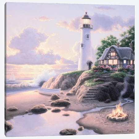 Cottage By The Sea Canvas Print #RBU63} by Richard Burns Art Print