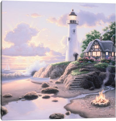 Cottage By The Sea Canvas Art Print