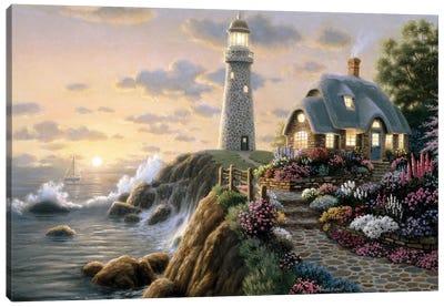 Lighthouse Cottage Canvas Art Print