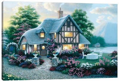 Lakeside Cottage Canvas Art Print