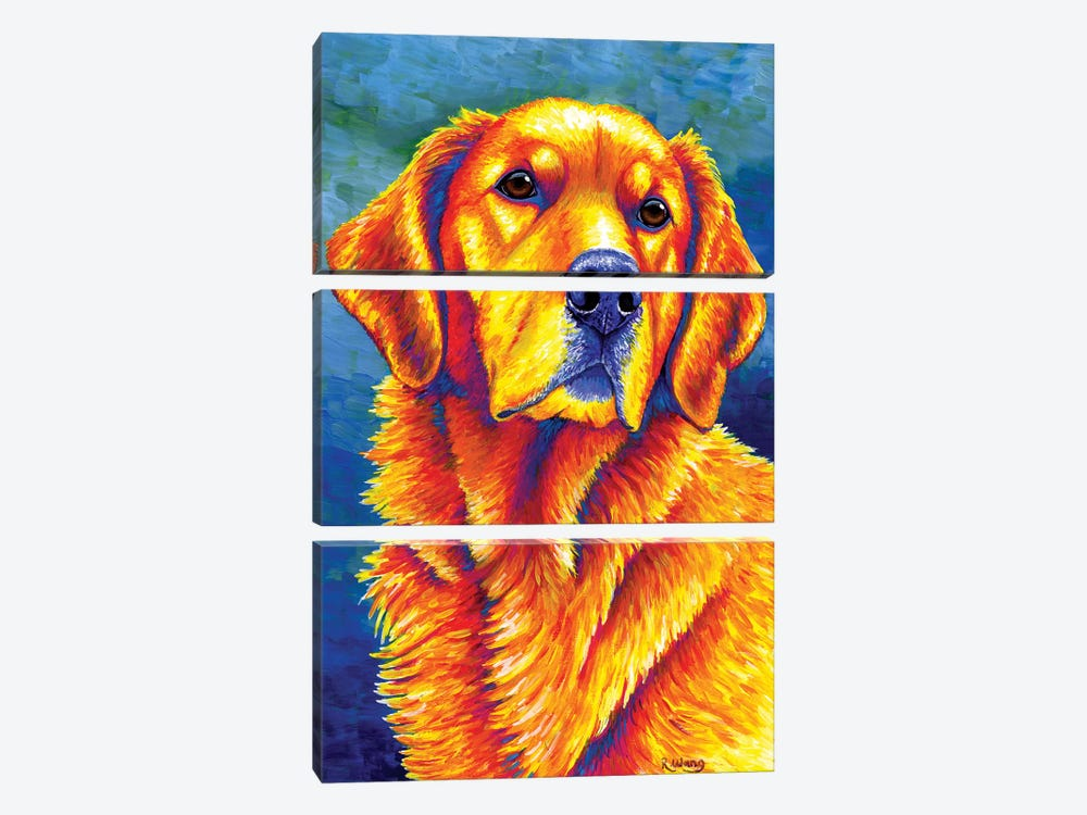 Faithful Friend - Golden Retriever by Rebecca Wang 3-piece Canvas Art Print