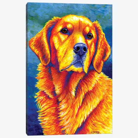 Faithful Friend - Golden Retriever Canvas Print #RBW11} by Rebecca Wang Canvas Artwork