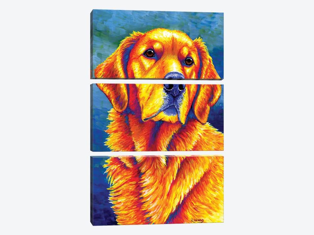 Faithful Friend - Golden Retriever by Rebecca Wang 3-piece Canvas Art Print