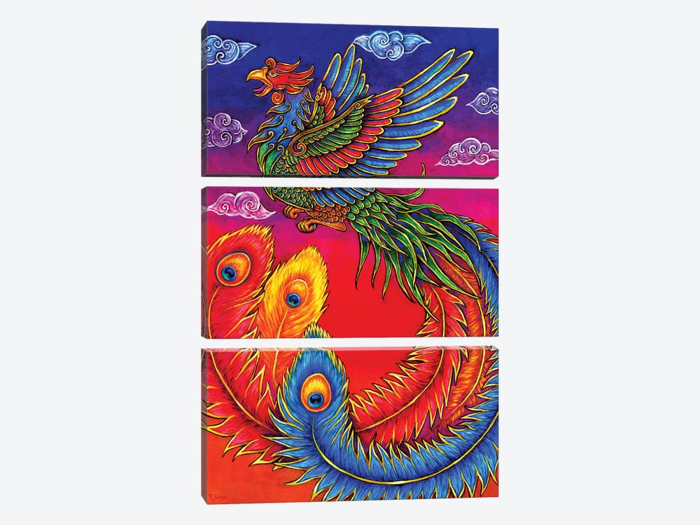 Fenghuang Chinese Phoenix by Rebecca Wang 3-piece Canvas Artwork