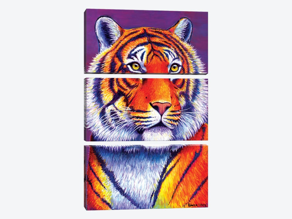 Fiery Beauty - Bengal Tiger by Rebecca Wang 3-piece Canvas Art Print