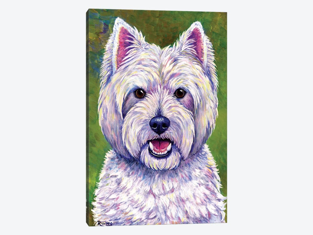 Happiness - West Highland White Terrier by Rebecca Wang 1-piece Canvas Artwork