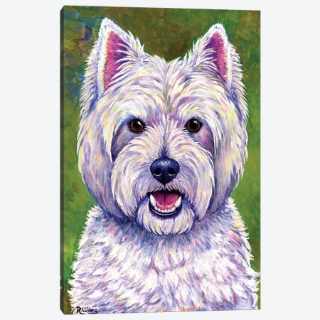 Happiness - West Highland White Terrier Canvas Print #RBW14} by Rebecca Wang Art Print