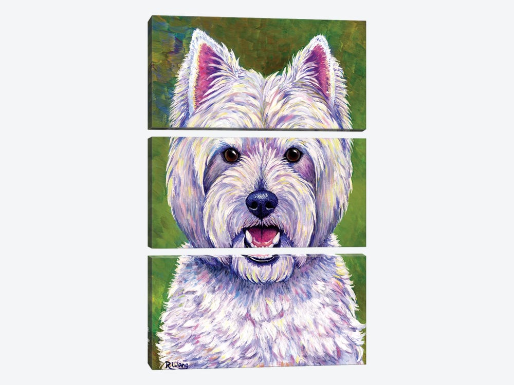 Happiness - West Highland White Terrier by Rebecca Wang 3-piece Canvas Art
