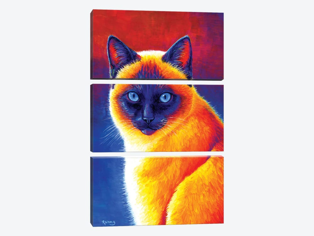 Jewel of the Orient - Siamese Cat by Rebecca Wang 3-piece Canvas Art Print