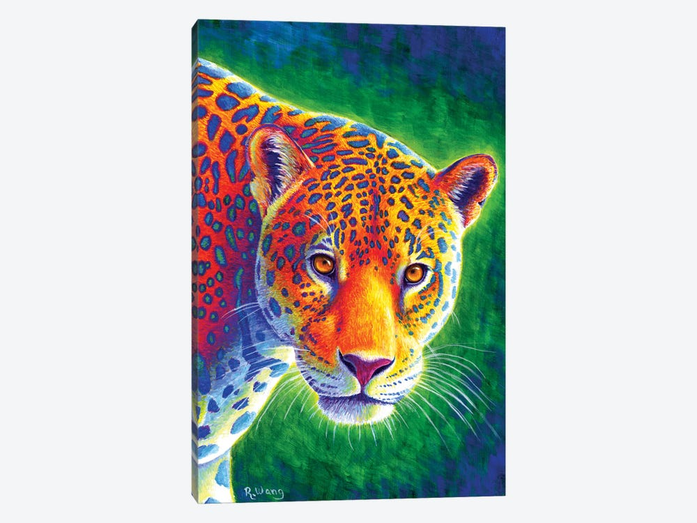 Light in the Rainforest - Jaguar by Rebecca Wang 1-piece Canvas Artwork