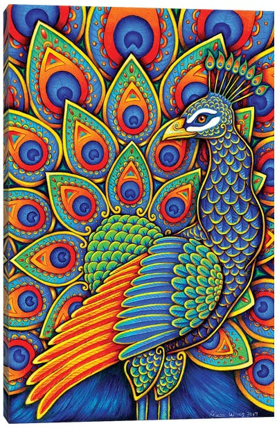 Paisley Peacock by Rebecca Wang Canvas Art Print
