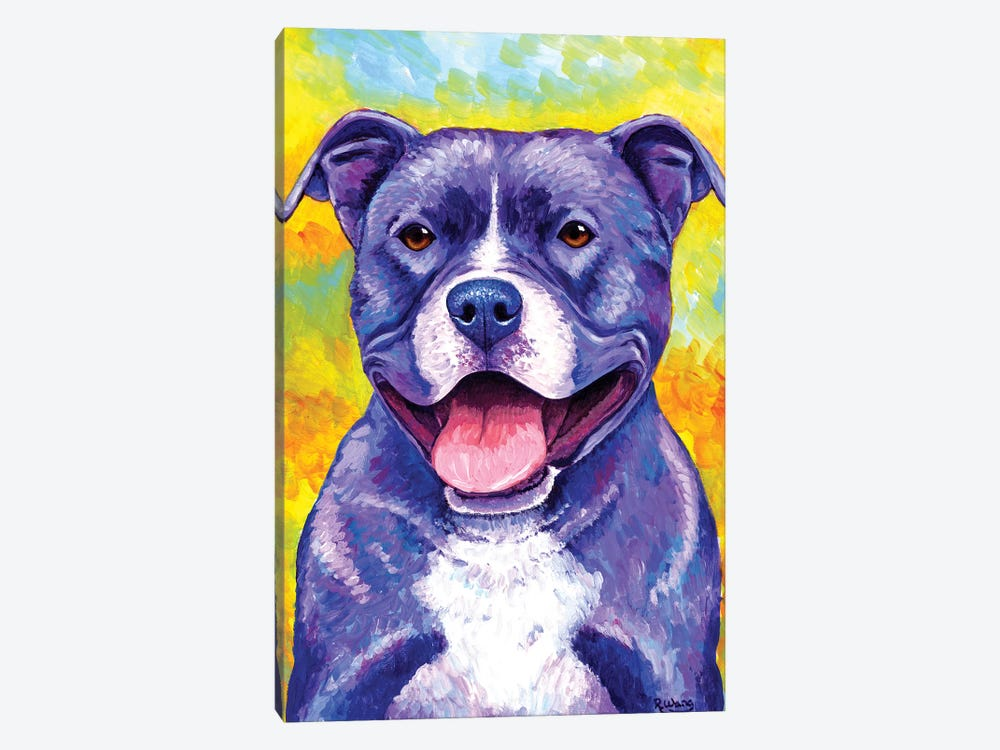 Peppy Pitbull Dog by Rebecca Wang 1-piece Canvas Artwork