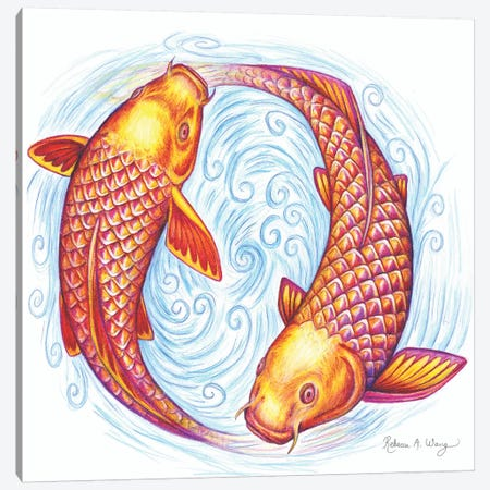 Pisces Canvas Print #RBW24} by Rebecca Wang Canvas Art