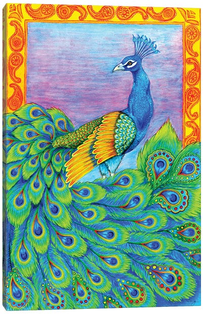 Pretty Peacock by Rebecca Wang Canvas Art Print