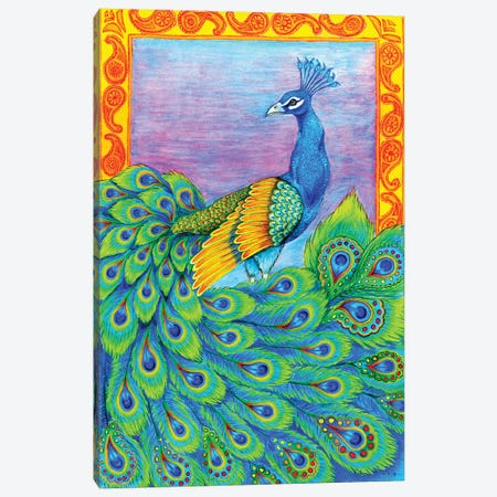 Pretty Peacock Canvas Print #RBW25} by Rebecca Wang Canvas Art