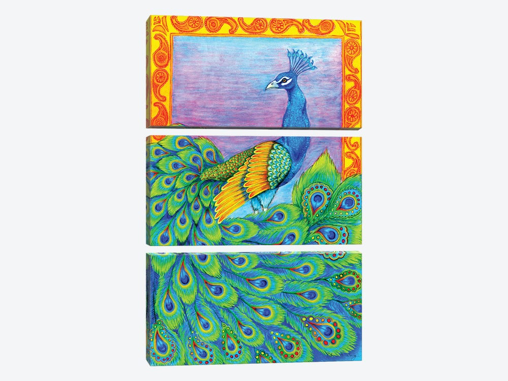 Pretty Peacock by Rebecca Wang 3-piece Canvas Art