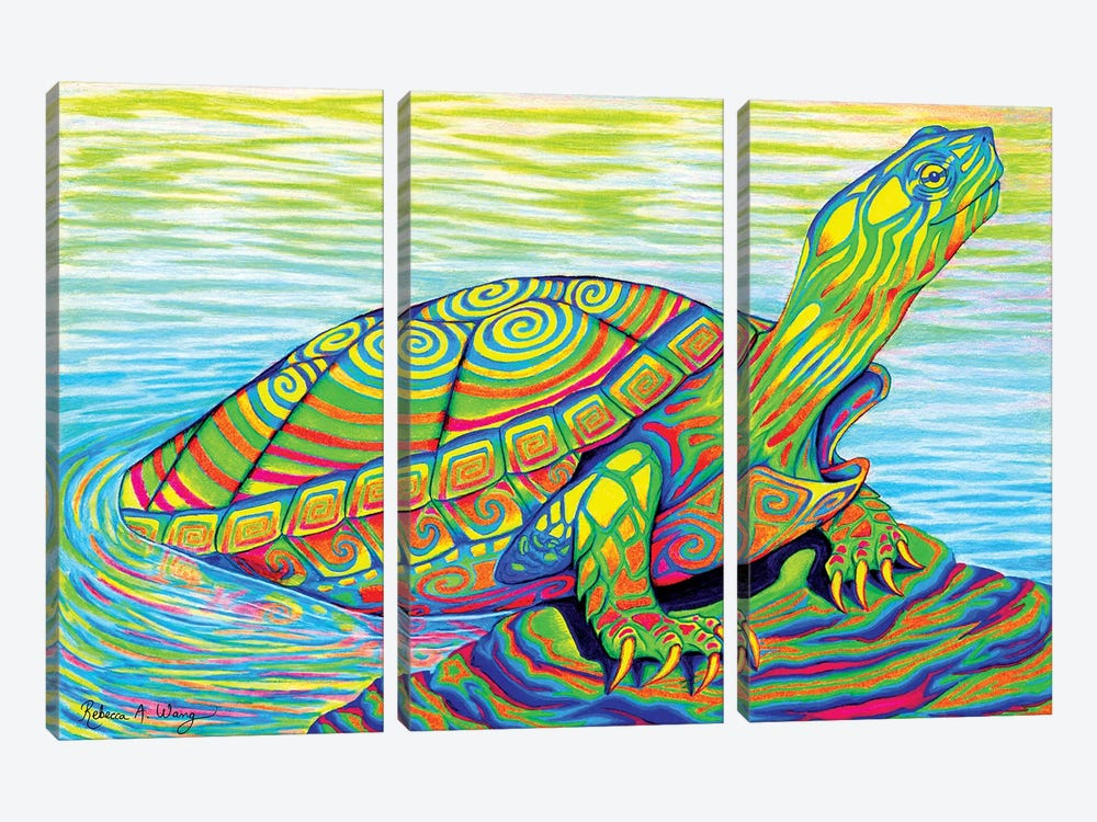 Psychedelic Neon Painted Turtle by Rebecca Wang 3-piece Art Print