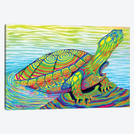 Psychedelic Neon Painted Turtle Canvas Print #RBW26} by Rebecca Wang Canvas Wall Art