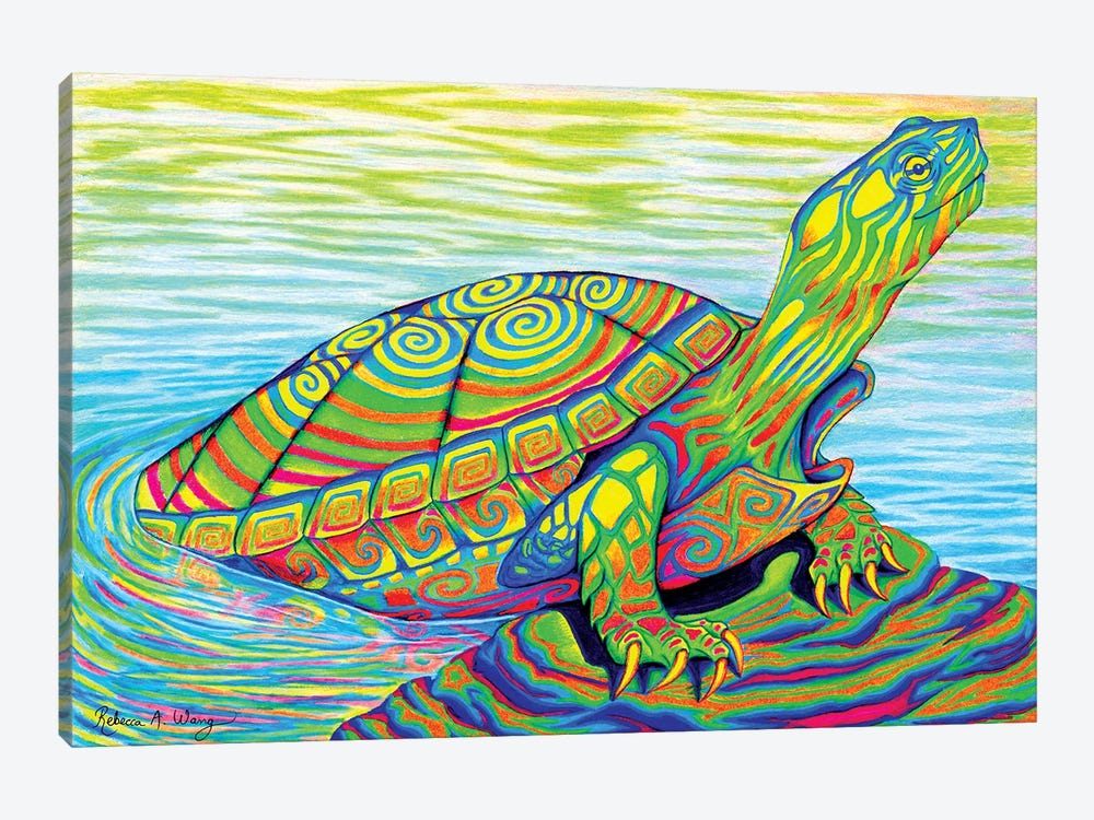 Psychedelic Neon Painted Turtle by Rebecca Wang 1-piece Canvas Print
