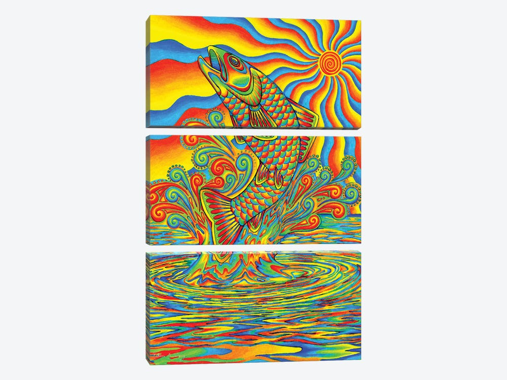 Psychedelic Rainbow Trout by Rebecca Wang 3-piece Canvas Artwork