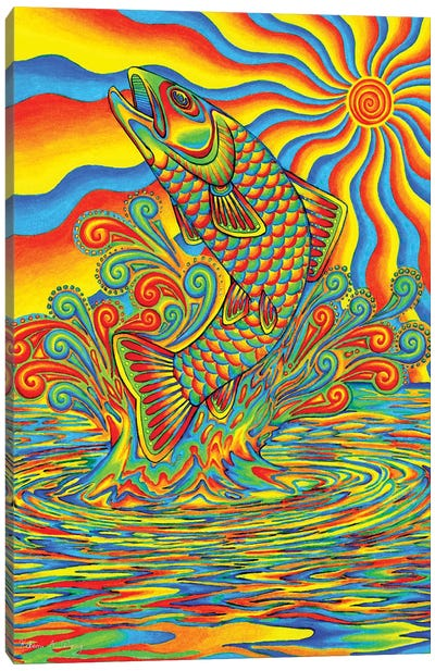 Psychedelic Rainbow Trout by Rebecca Wang Canvas Art Print