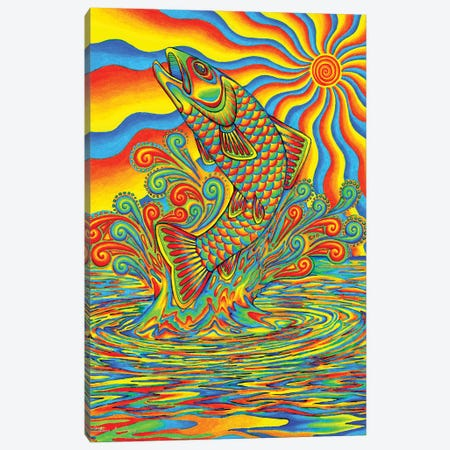 Psychedelic Rainbow Trout Canvas Print #RBW27} by Rebecca Wang Canvas Artwork