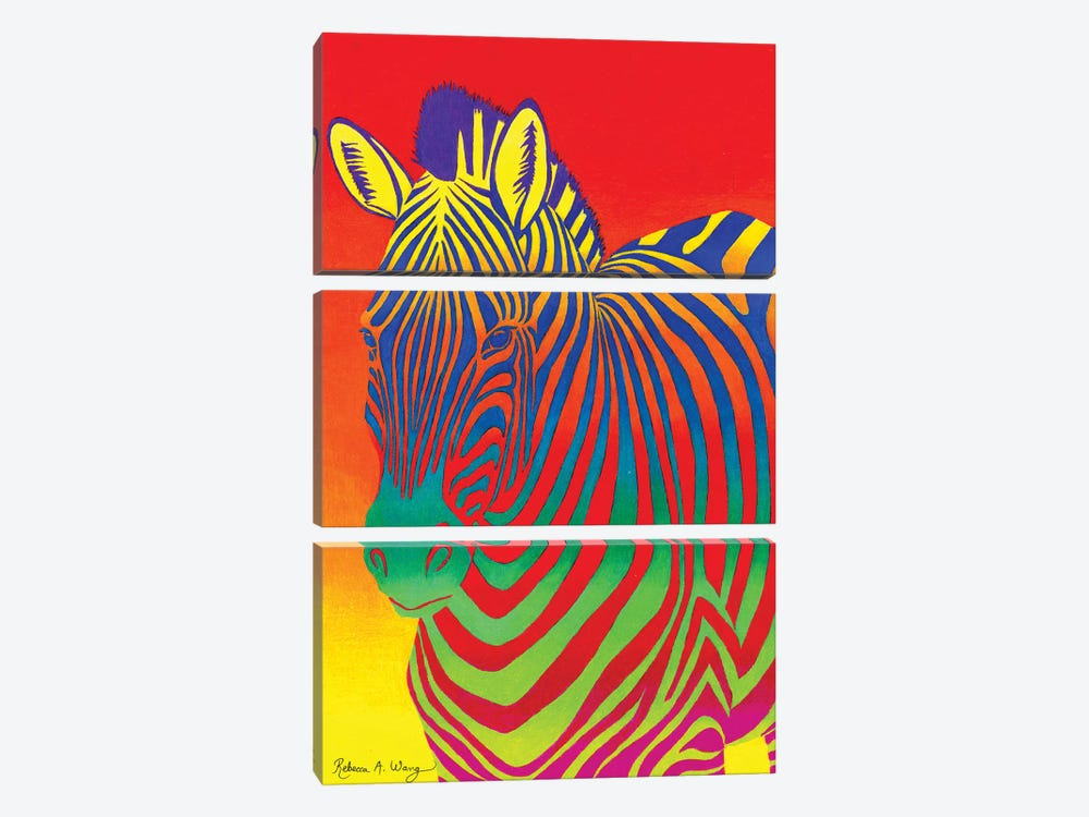 Psychedelic Rainbow Zebra by Rebecca Wang 3-piece Canvas Print