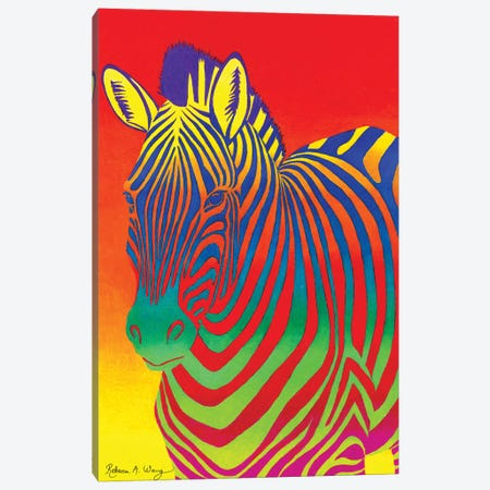 Psychedelic Rainbow Zebra Canvas Print #RBW28} by Rebecca Wang Canvas Print