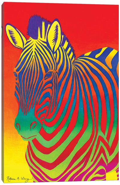 Psychedelic Rainbow Zebra Canvas Art Print