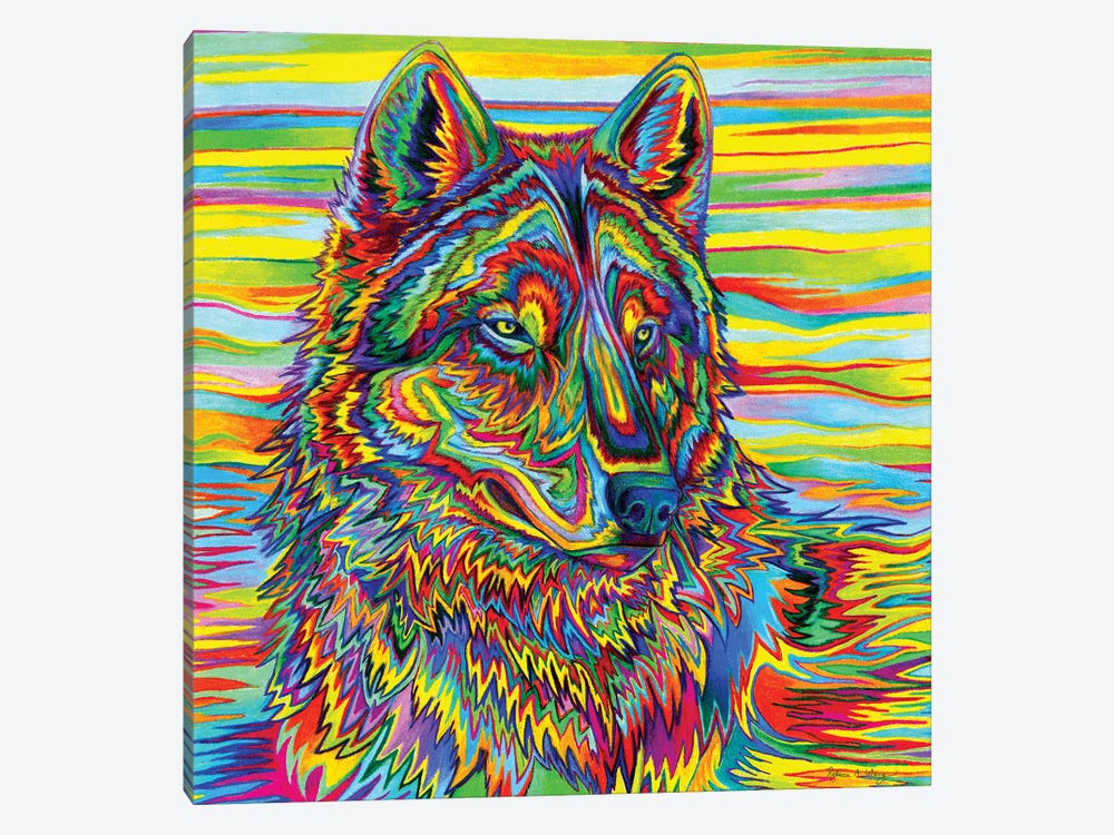 Psychedelic Wolf by Rebecca Wang 1-piece Canvas Art