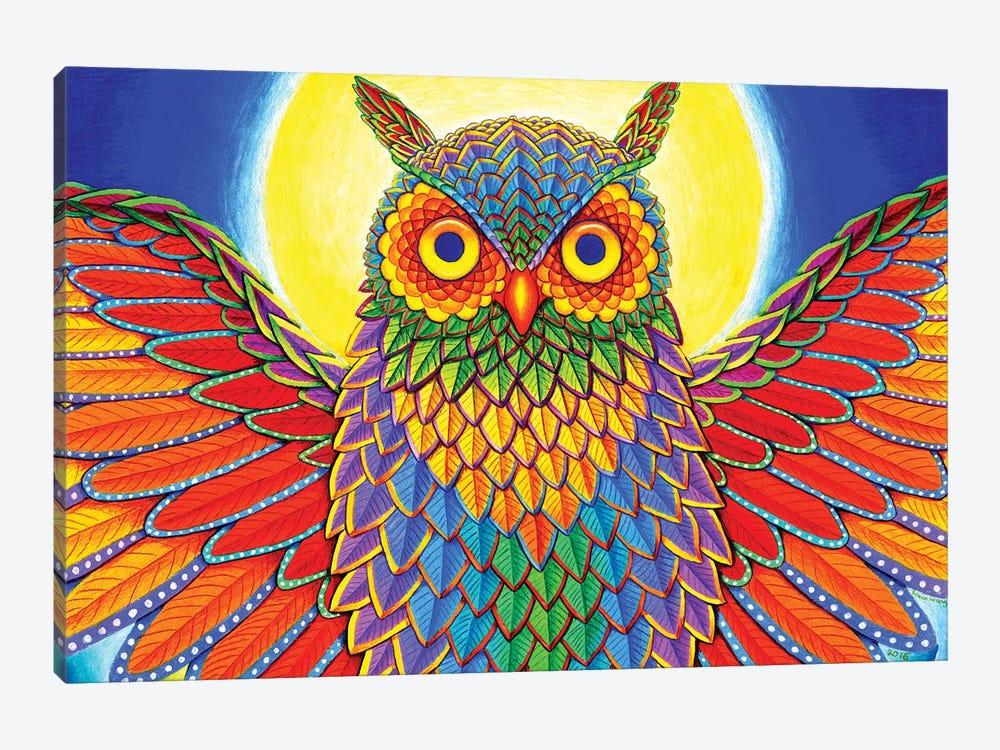 Rainbow Owl by Rebecca Wang 1-piece Canvas Art