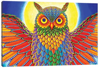 Rainbow Owl by Rebecca Wang Canvas Art Print