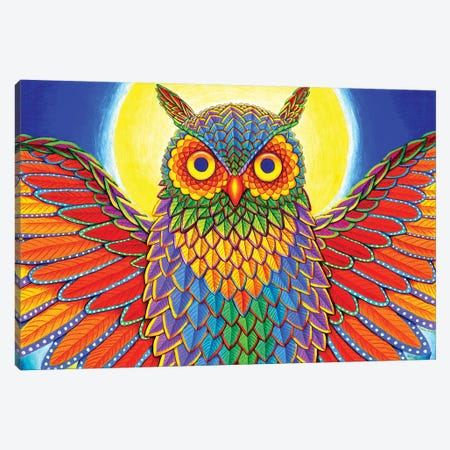 Rainbow Owl Canvas Print #RBW32} by Rebecca Wang Canvas Art