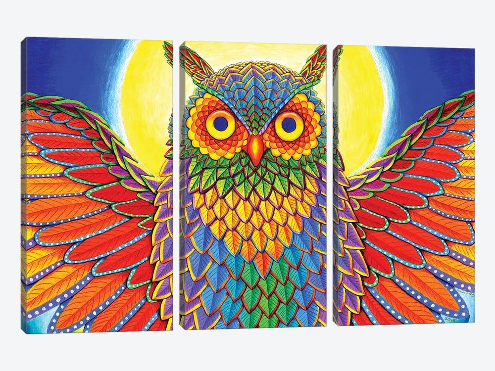 Rainbow Owl by Rebecca Wang 3-piece Canvas Art