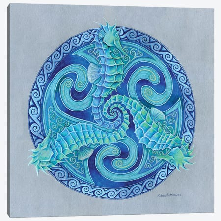 Seahorse Triskele Canvas Print #RBW33} by Rebecca Wang Canvas Art