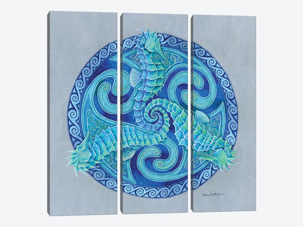 Seahorse Triskele by Rebecca Wang 3-piece Art Print