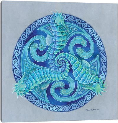 Seahorse Triskele by Rebecca Wang Canvas Art Print