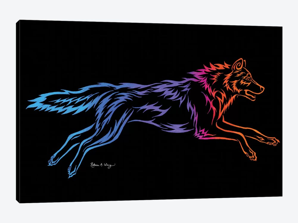 Tribal Running Wolf by Rebecca Wang 1-piece Canvas Wall Art
