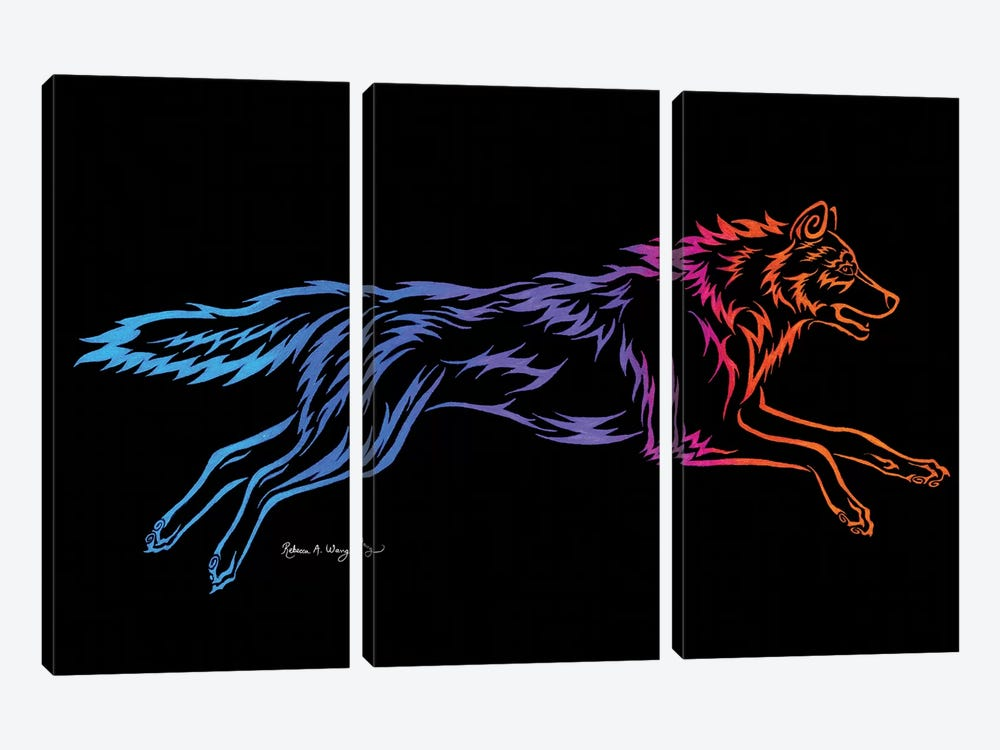 Tribal Running Wolf by Rebecca Wang 3-piece Canvas Artwork
