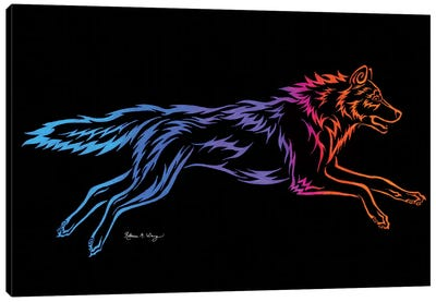 Tribal Running Wolf Canvas Art Print
